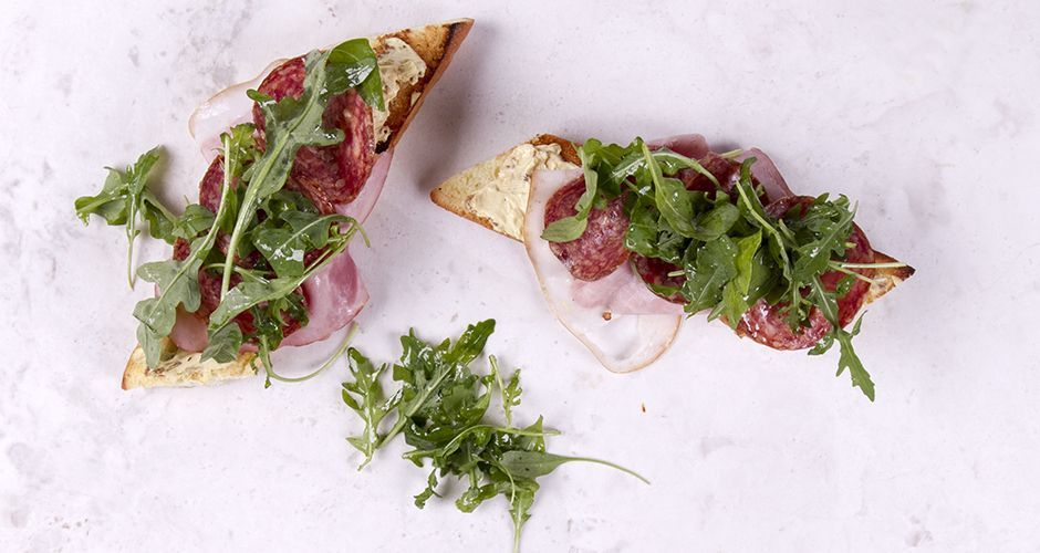 Smoked Ham and Salami Bruschetta