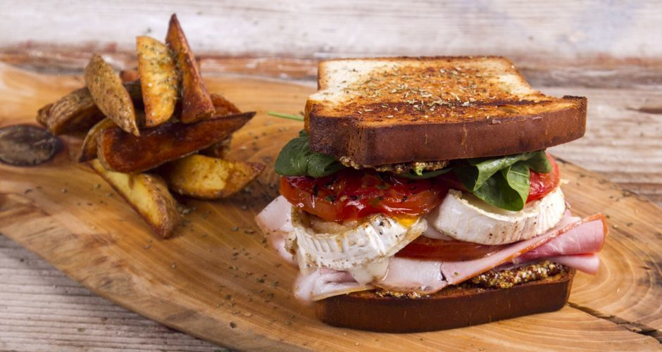 Grilled Sandwich with Pan Roasted Tomatoes and Goat Cheese