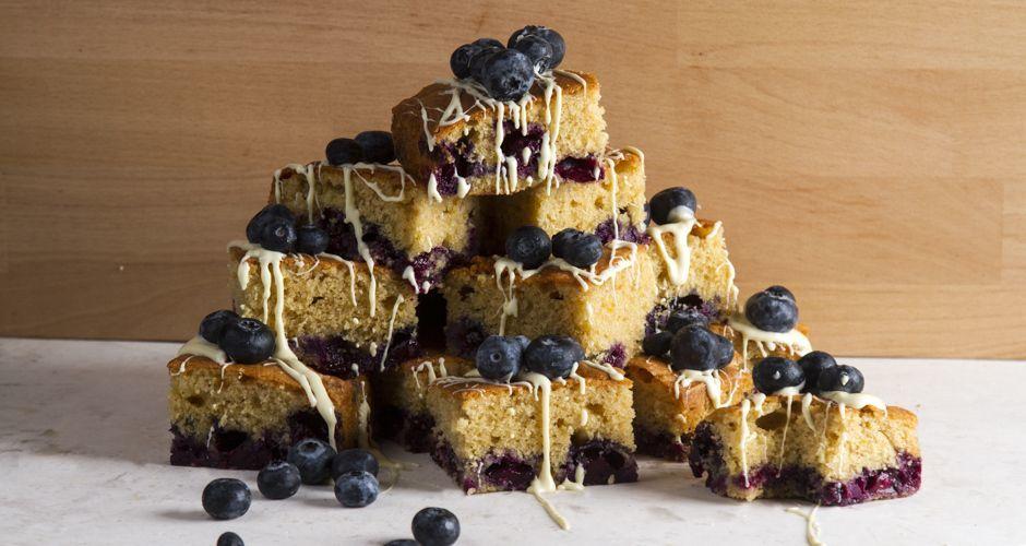 Orange blueberry cake squares
