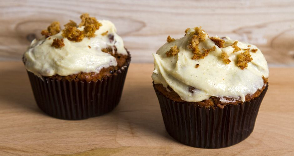 Spiced Pumpkin Muffins with a White Chocolate Pumpkin Frosting