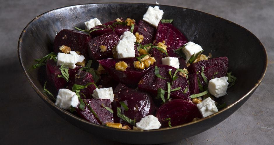 Glazed Beetroots with Feta and Mint