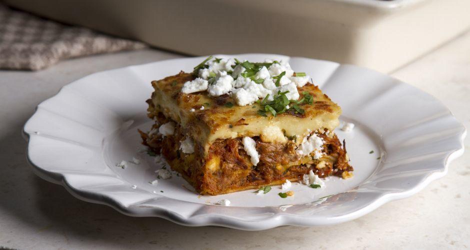 Beef ragu and béchamel lasagna