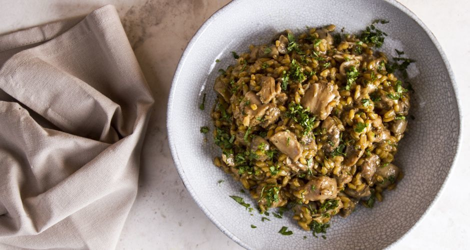 Bulgur with chicken and mushrooms