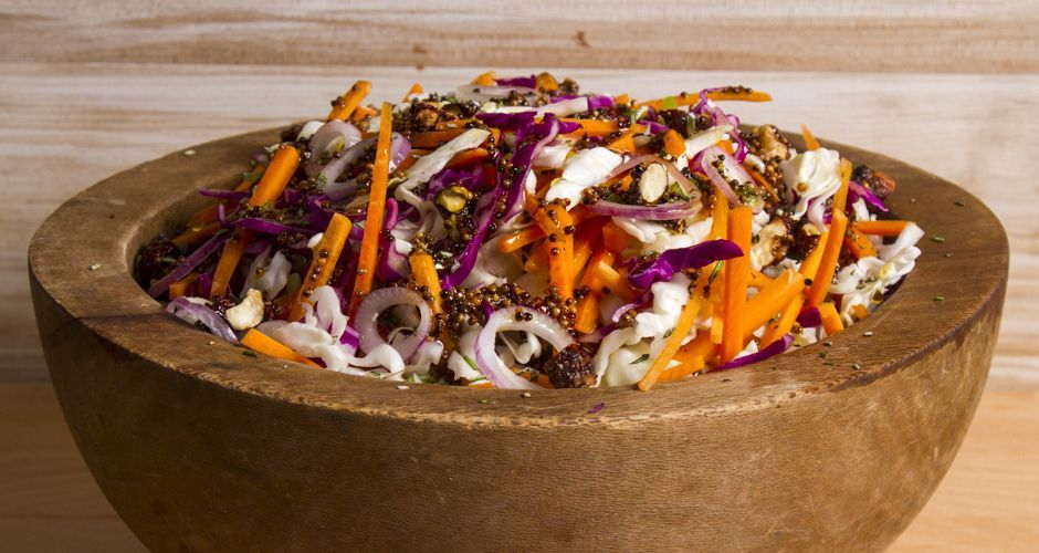 Red and White Cabbage Salad with Caramelized Nuts