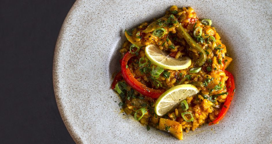 Vegetarian Paella with Saffron and Lemon