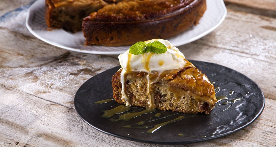 Greek upside-down apple chocolate pie