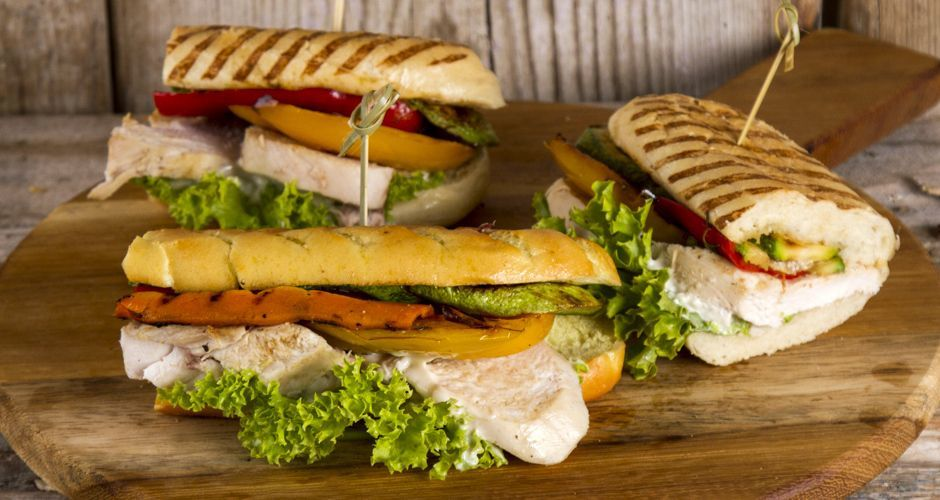 Grilled Vegetable and Chicken Baguette Sandwich