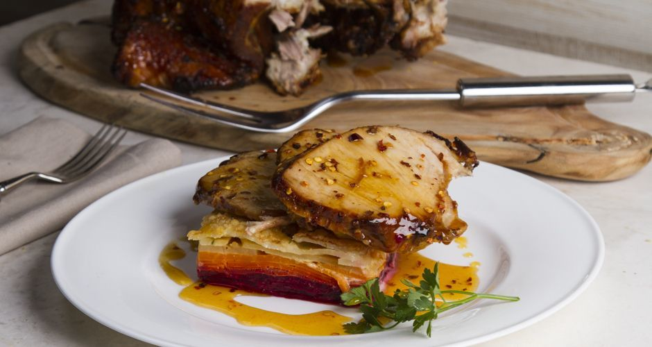 Spicy Pork Chop with Vegetable Dauphinoise