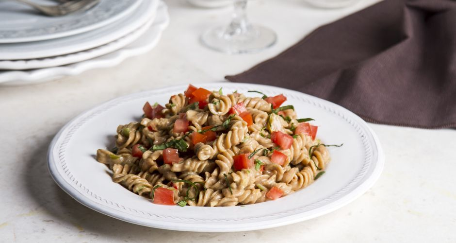 Whole Wheat Fusilli with Chili Tahini and Spices