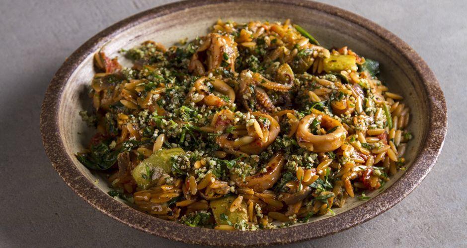 Calamari and Spinach Orzo