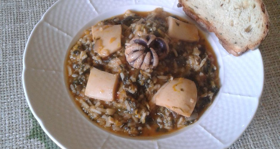 Cuttlefish with Spinach Rice