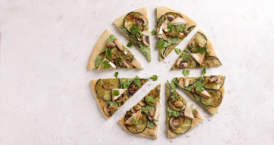 Pizza with Rocket Pesto and Tofu Cheese