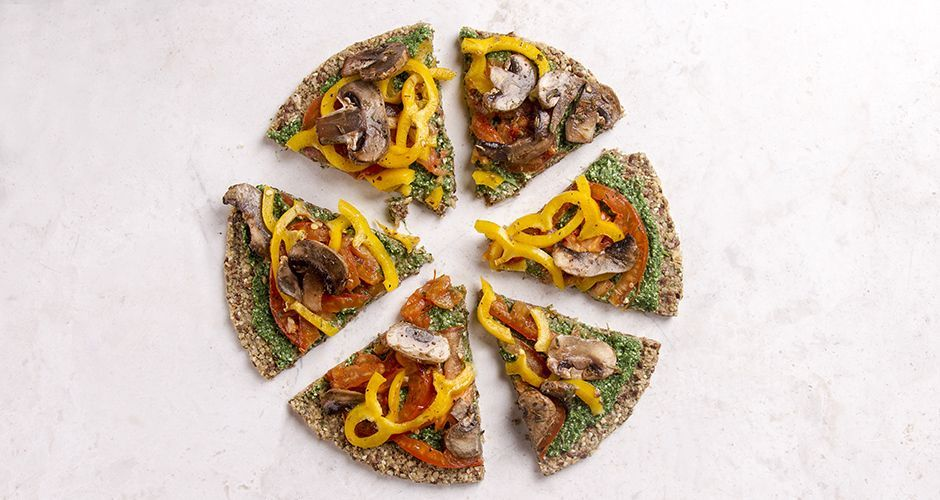 Veggie Pizza with a Spinach Pesto