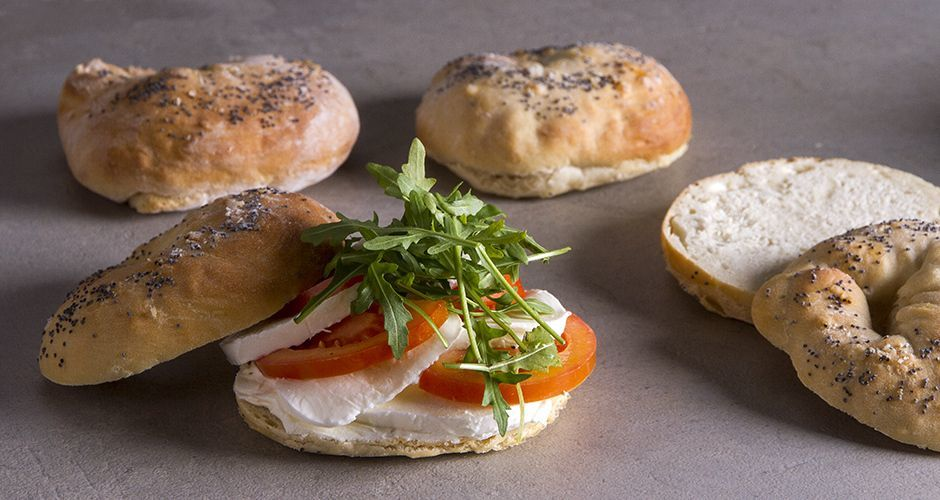 Homemade bagels with tomato and fresh mozzarella