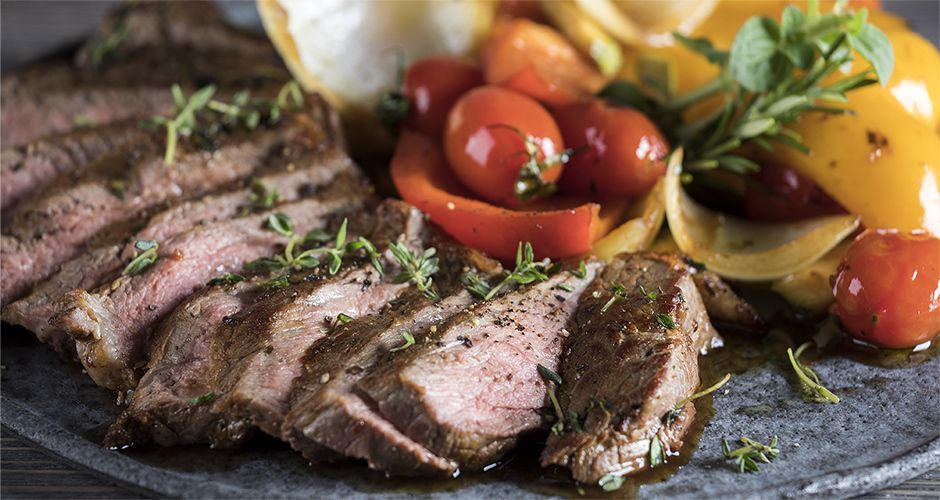 Ribeye steak and veggies